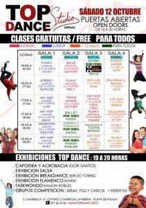 130930 poster puertas abiertas TOP DANCE STUDIO ARENAL 12 de octubre red