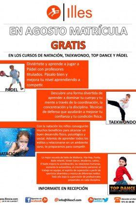 MATRICULA GRATIS EN CURSILLOS DE NATACIÓN, PÁDEL, TAEKWONDO Y TOP DANCE