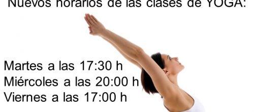 Nuevos horario clases de Yoga en Illes Aragon.